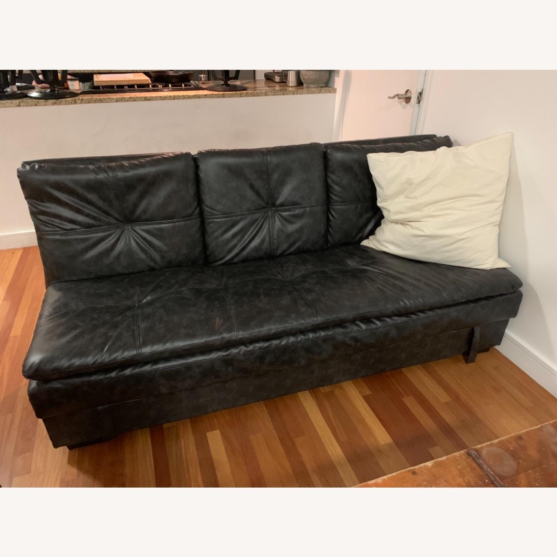 Black Faux Leather Sleeper Sofa - image-1