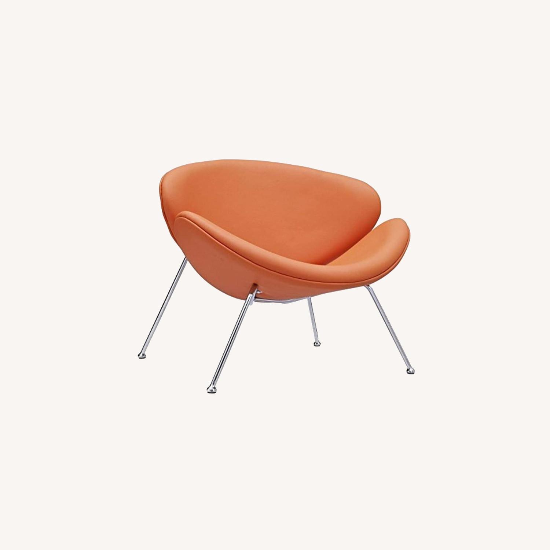 Mid-Century Modern Accent Chair In Orange - image-5