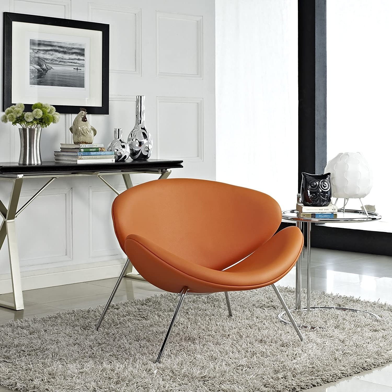 Mid-Century Modern Accent Chair In Orange - image-3