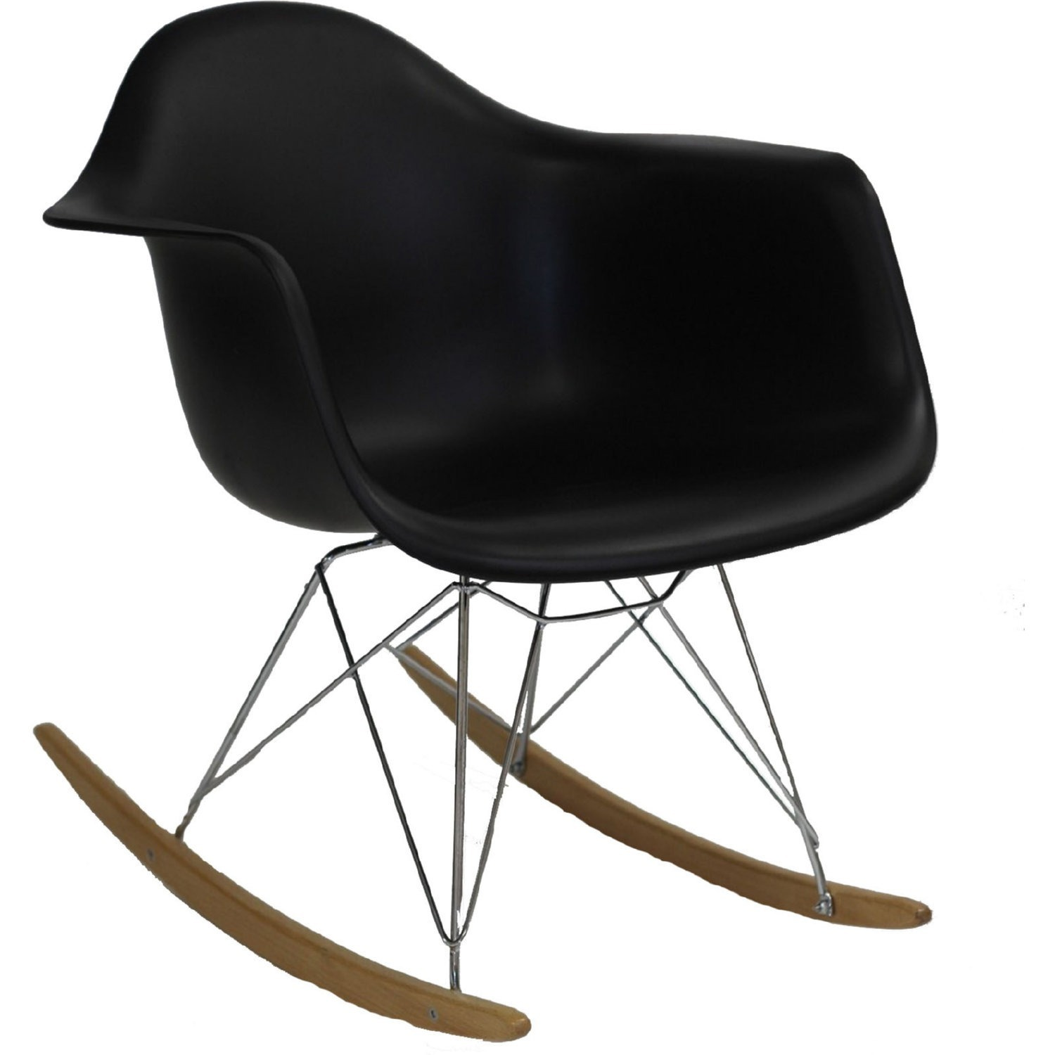 Retro Modern Lounge Chair In Black W/ Chrome Base - image-0