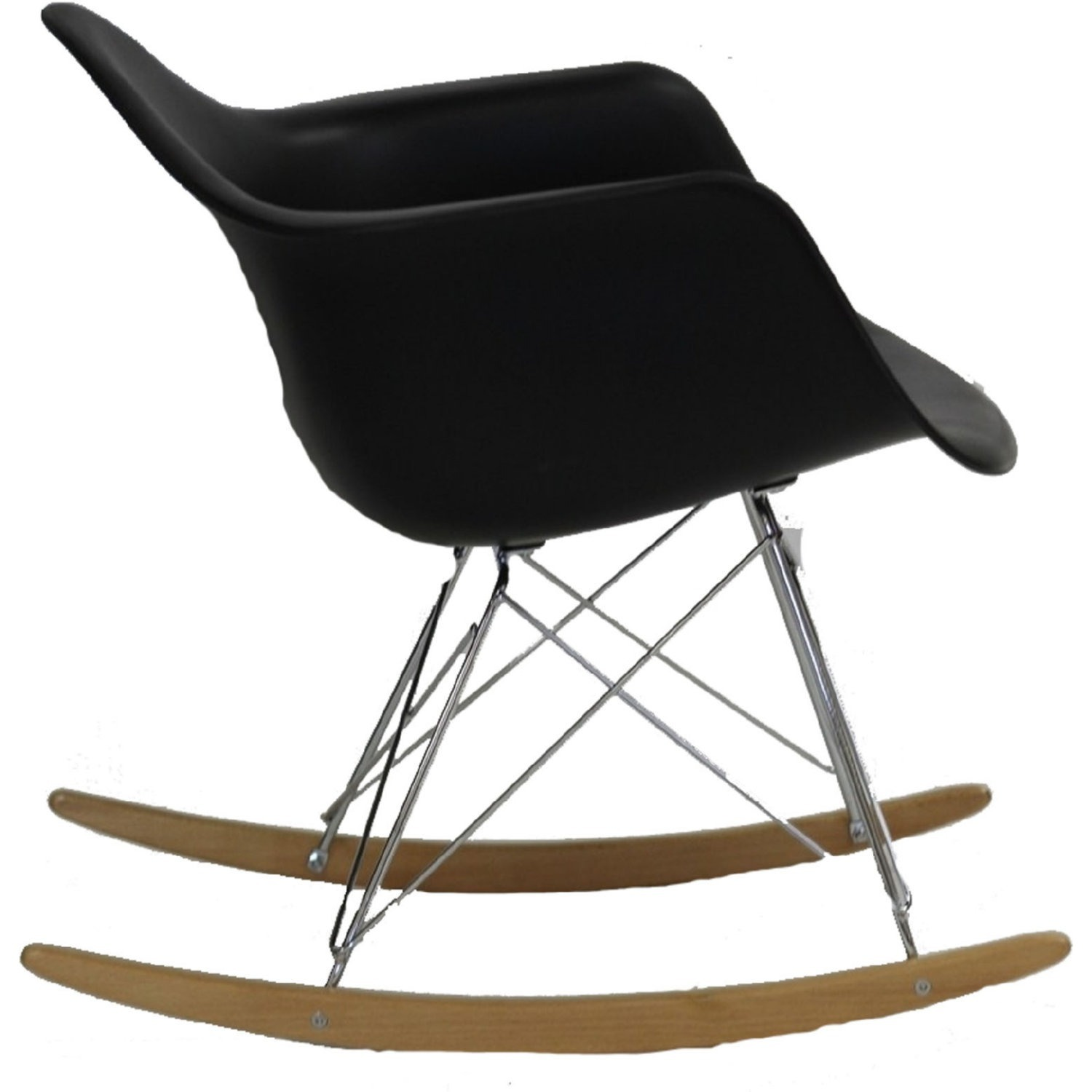 Retro Modern Lounge Chair In Black W/ Chrome Base - image-2