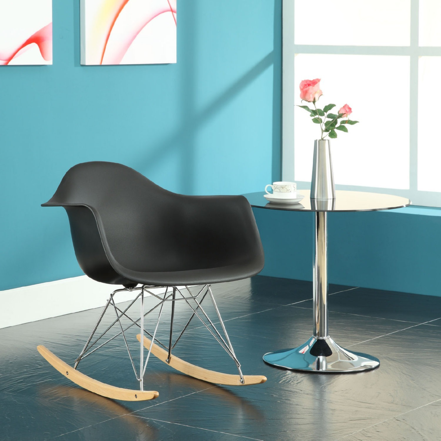 Retro Modern Lounge Chair In Black W/ Chrome Base - image-3