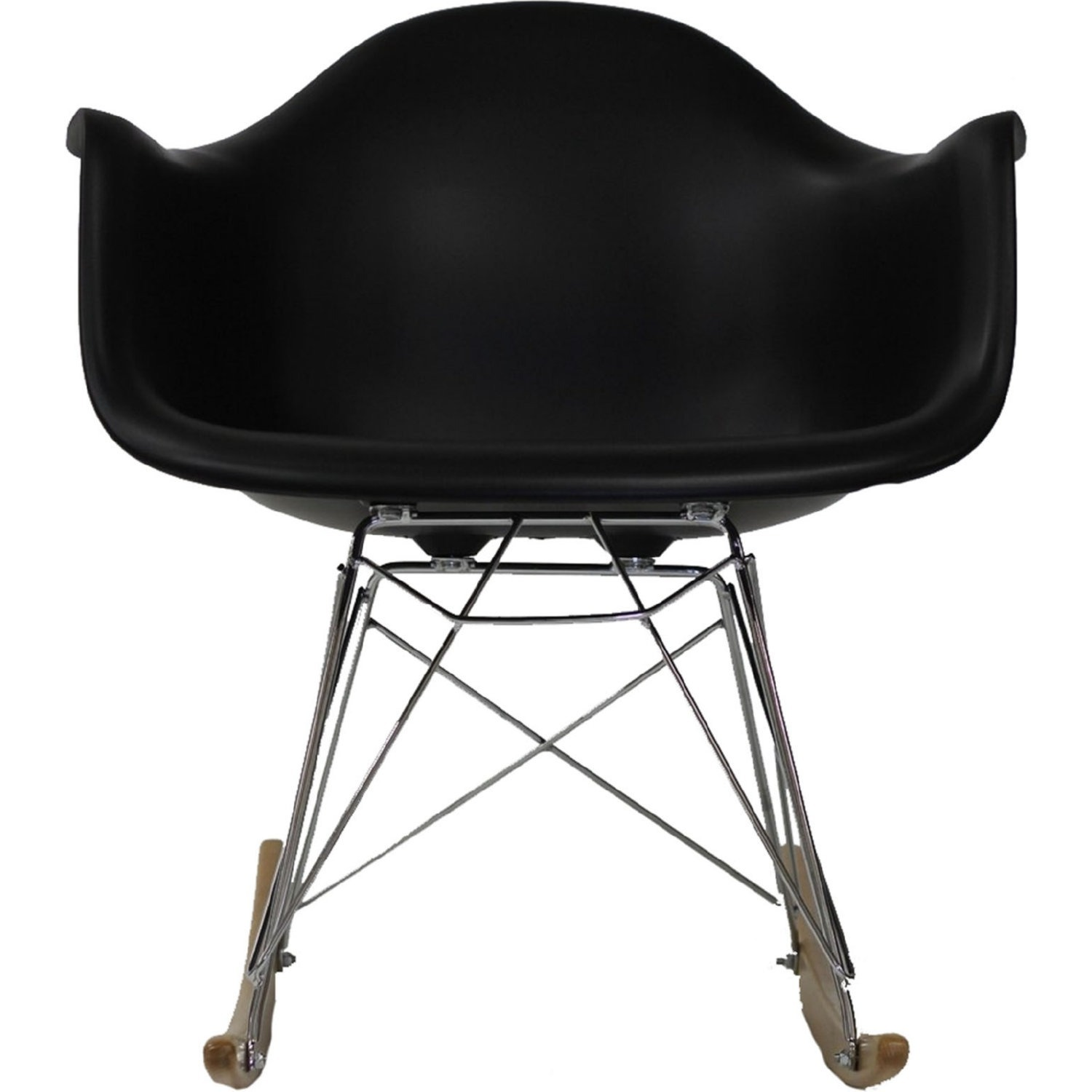 Retro Modern Lounge Chair In Black W/ Chrome Base - image-1