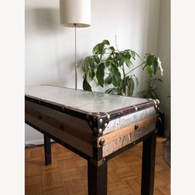 Aluminum & Wood Side Table - image-2