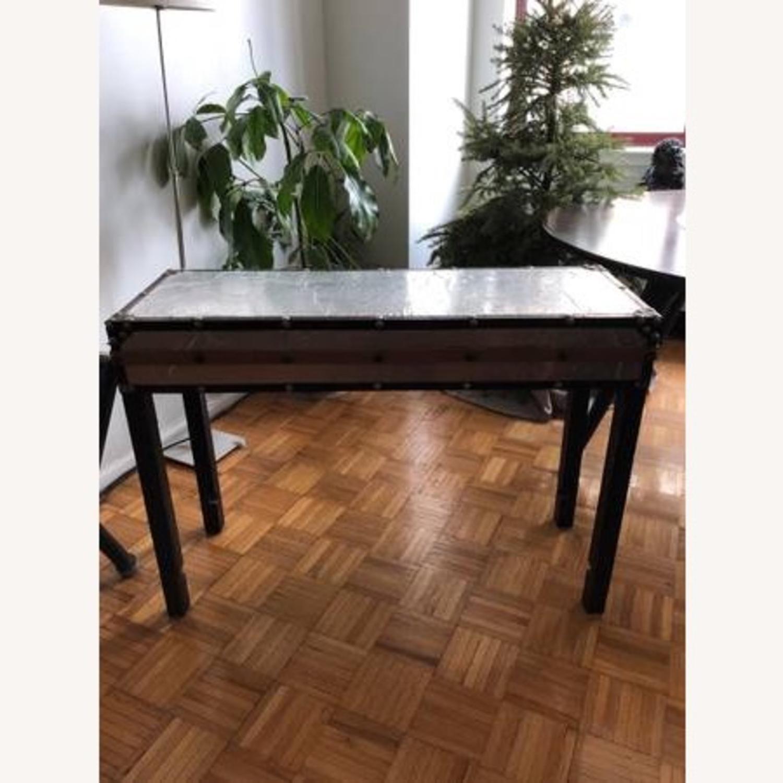 Aluminum & Wood Side Table - image-1
