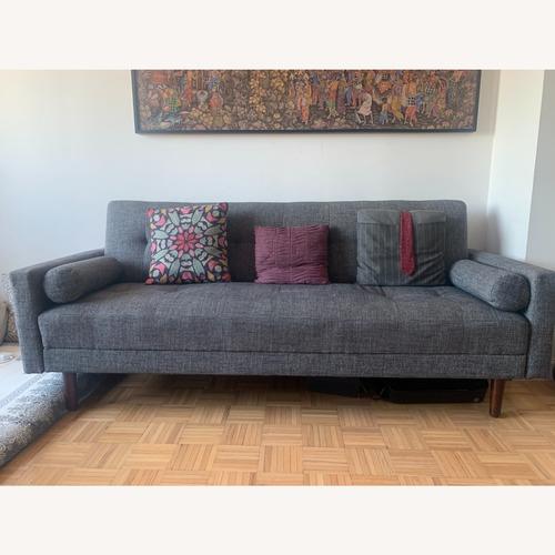 Used Herringbone grey Midcentury Modern Sleeper Sofa for sale on AptDeco