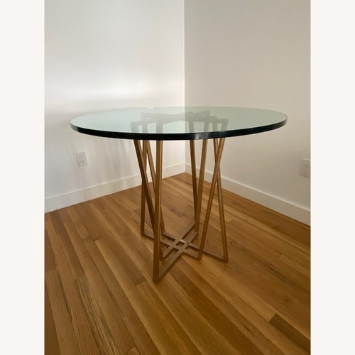Used One King's Lane Brass/glass Round Dining Table for sale on AptDeco