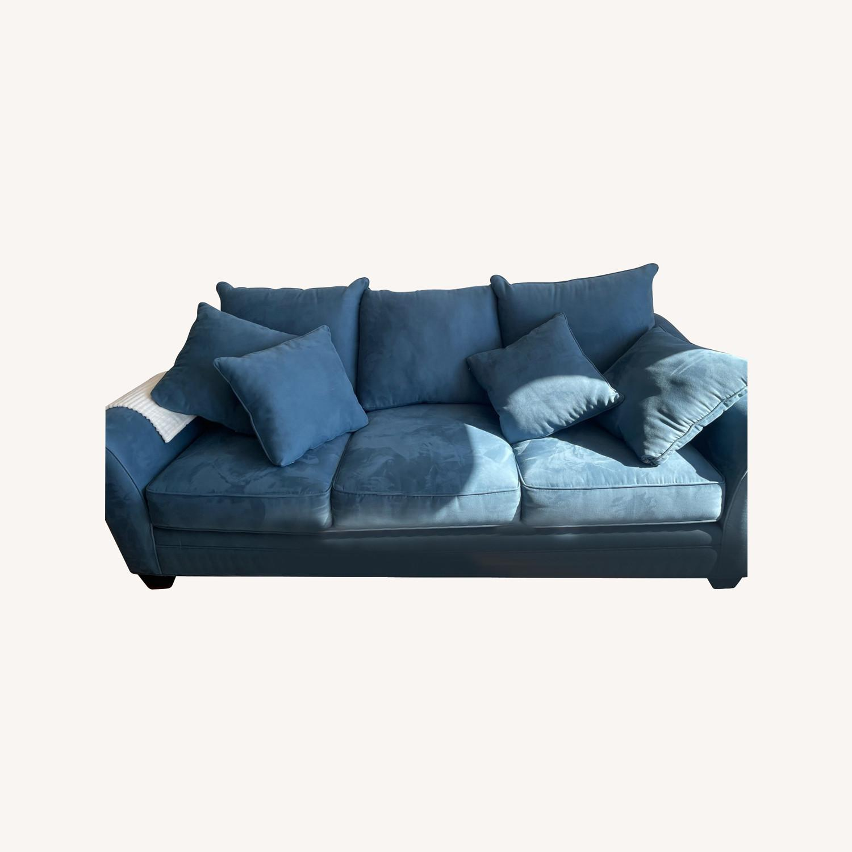Raymour & Flanigan Queen Plus Microfiber Sleeper Sofa - image-0