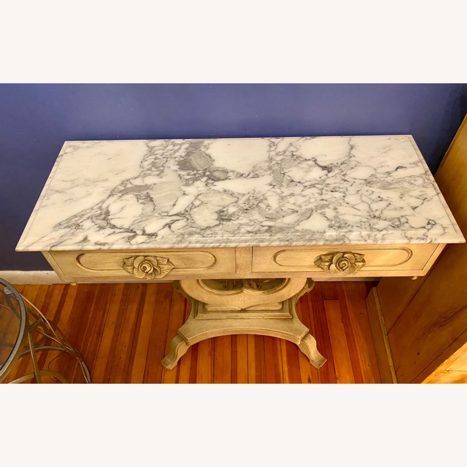 Antique Entrance Table Solid Wood and Marble - image-3