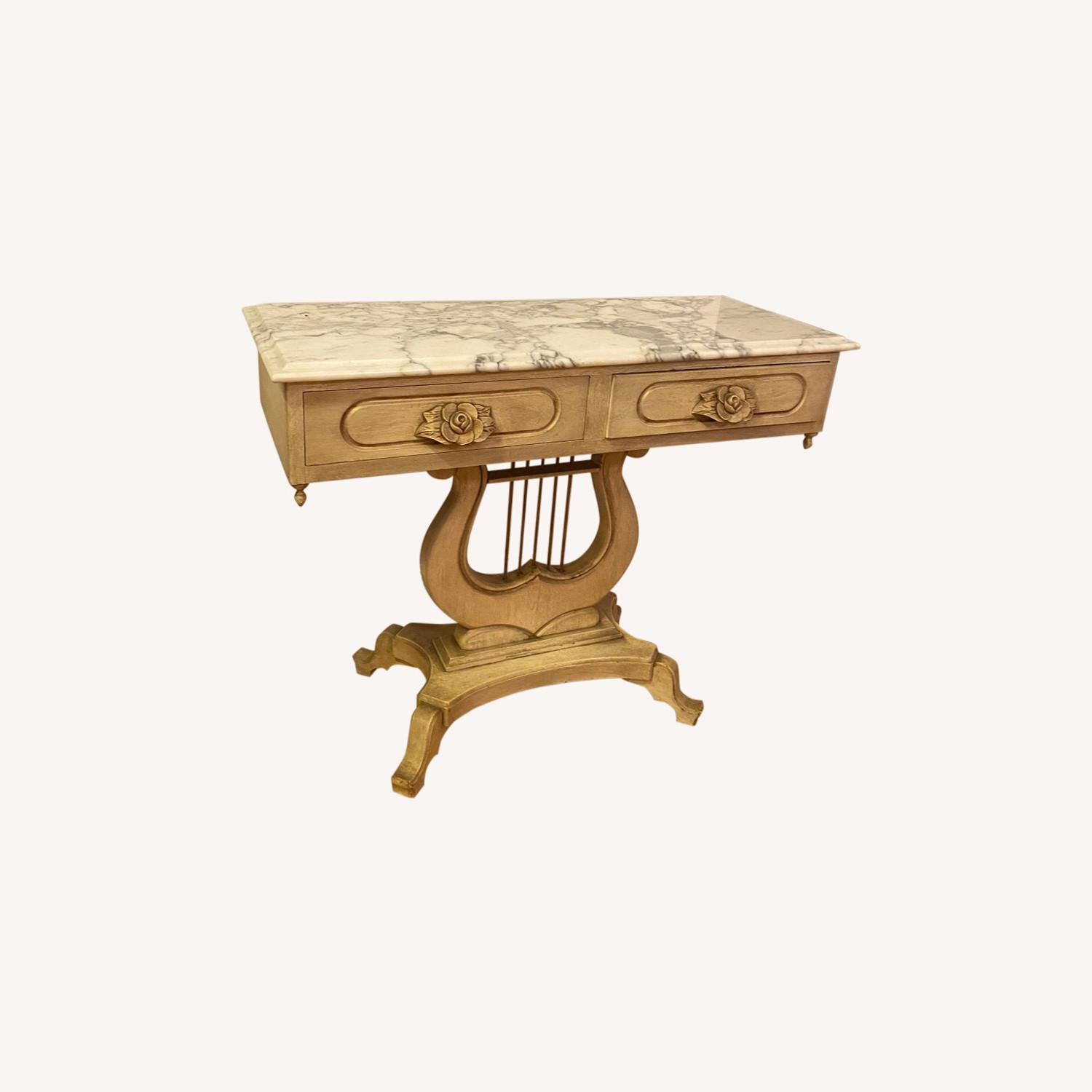 Antique Entrance Table Solid Wood and Marble - image-0