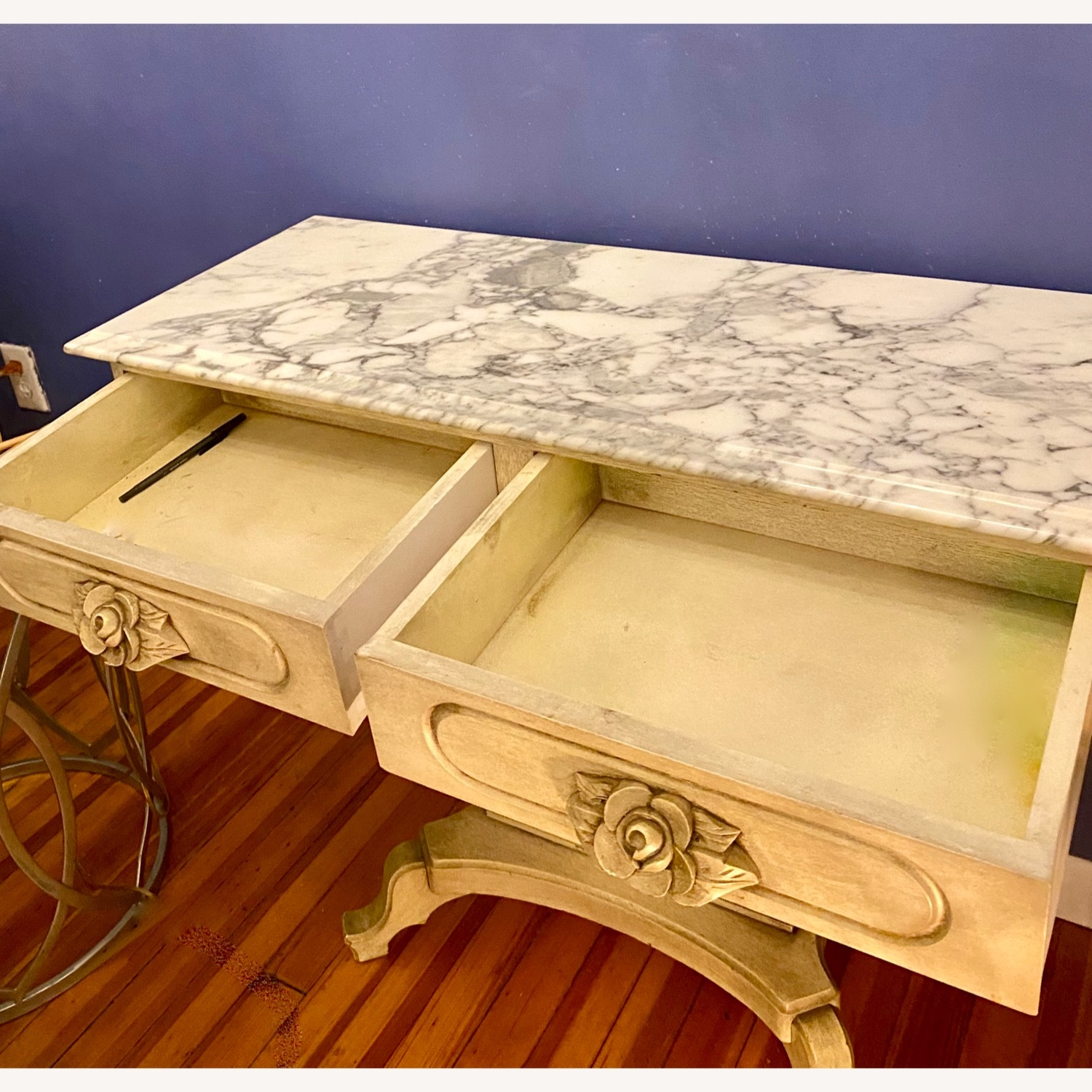 Antique Entrance Table Solid Wood and Marble - image-6