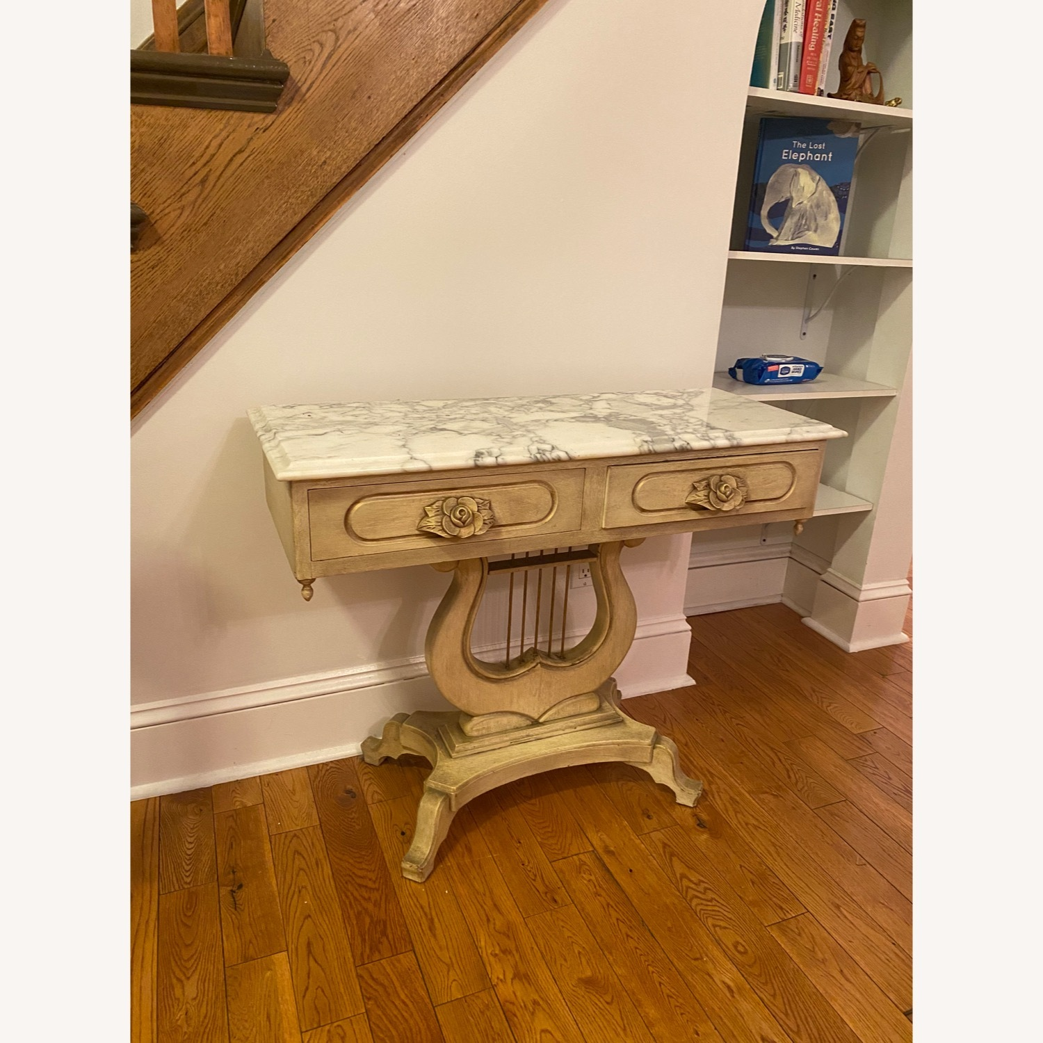 Antique Entrance Table Solid Wood and Marble - image-2