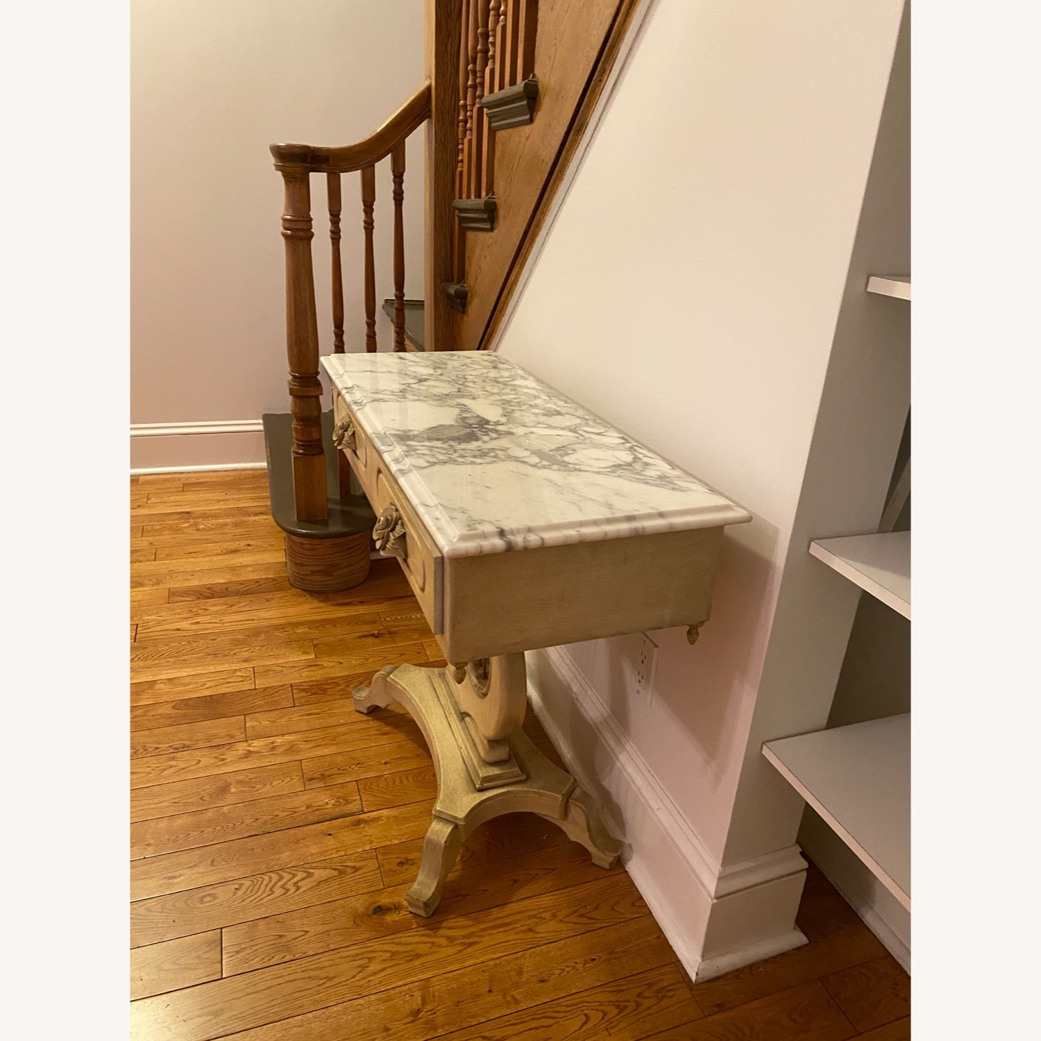 Antique Entrance Table Solid Wood and Marble - image-4