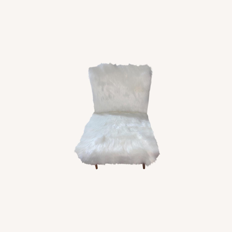 White Faux Fur Chair - image-0