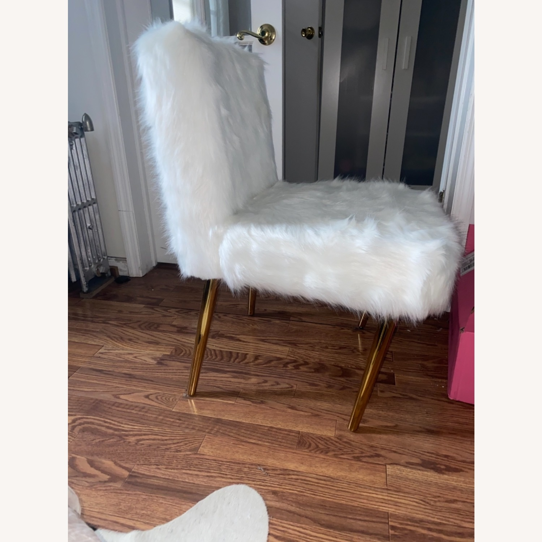 White Faux Fur Chair - image-2