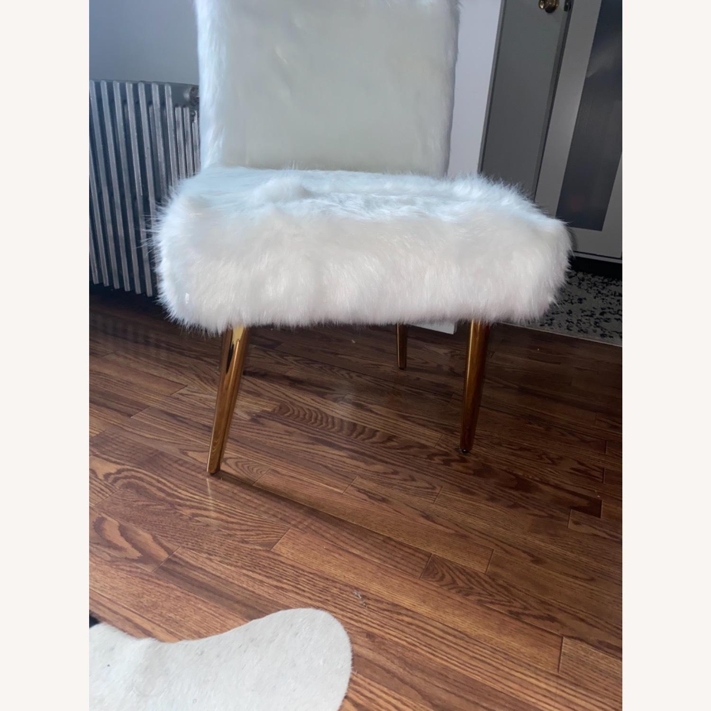 White Faux Fur Chair - image-4
