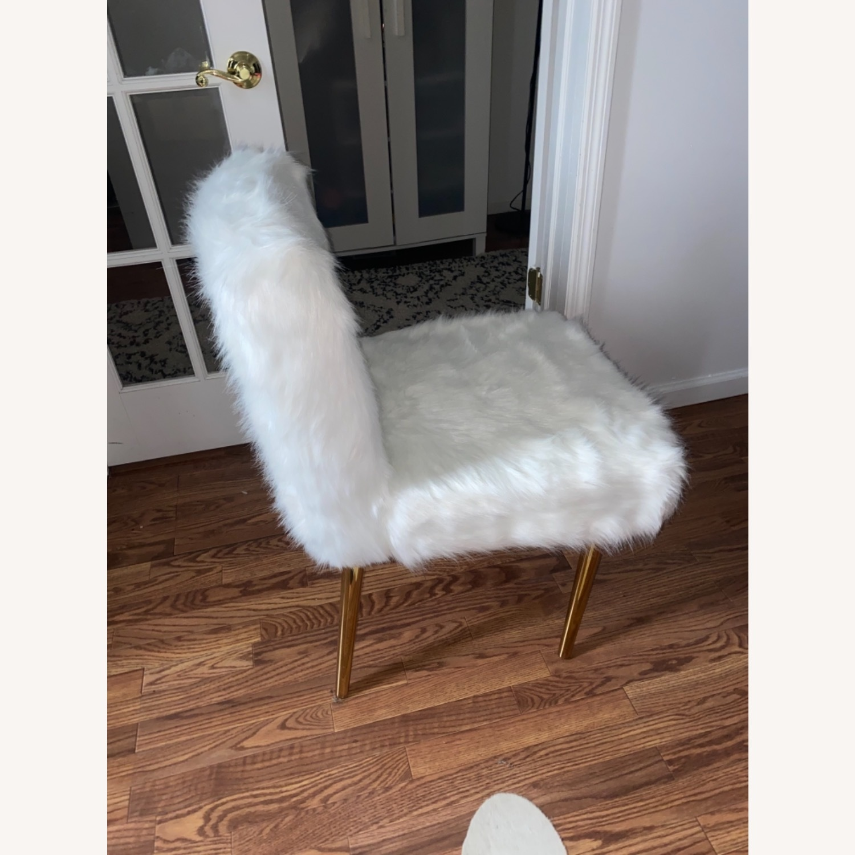 White Faux Fur Chair - image-1