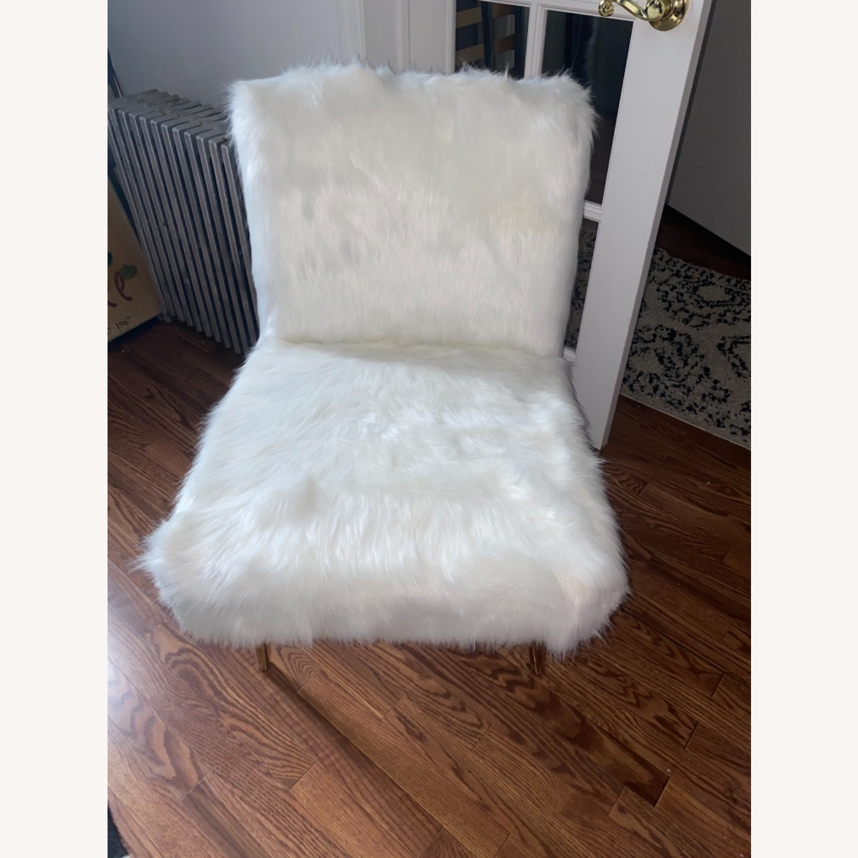 White Faux Fur Chair - image-6