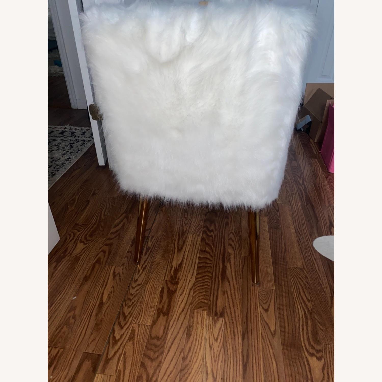 White Faux Fur Chair - image-7