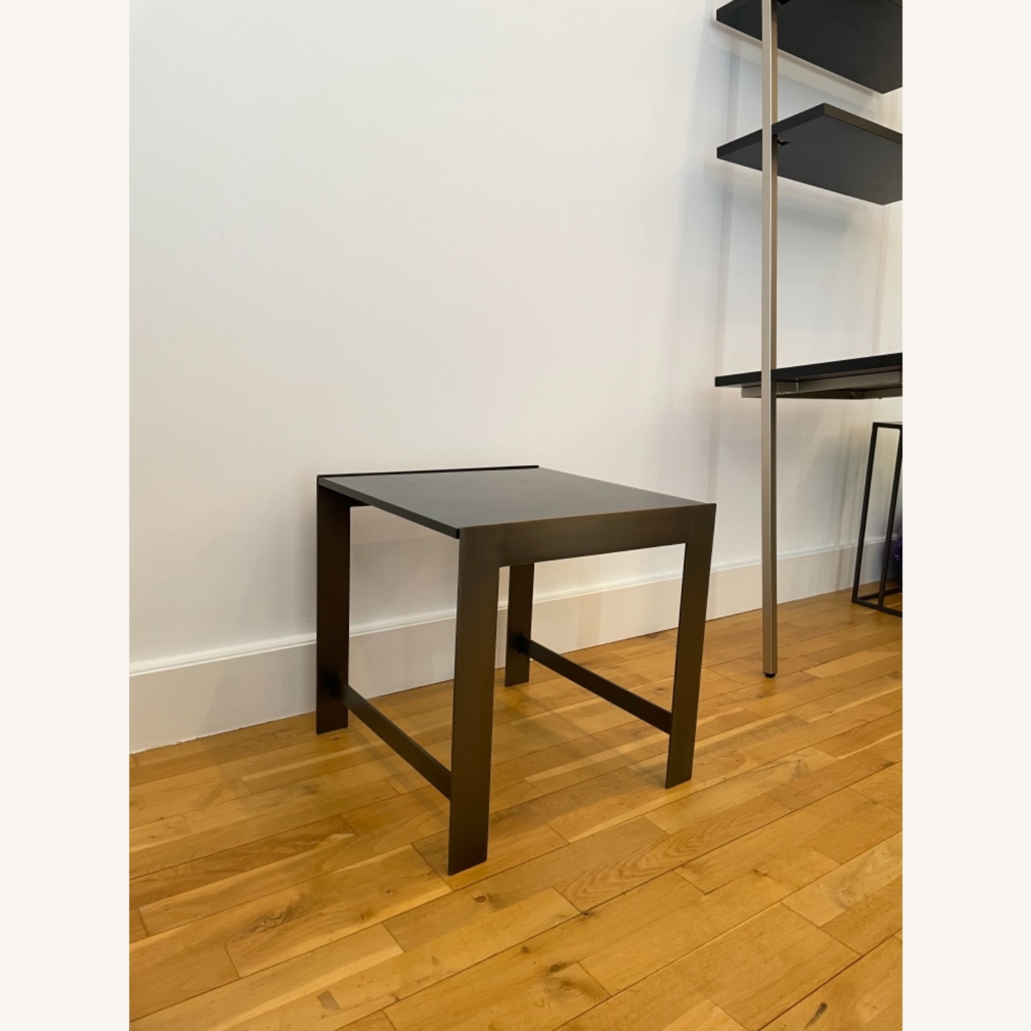 Black Glass Table with Brass Legs - image-2
