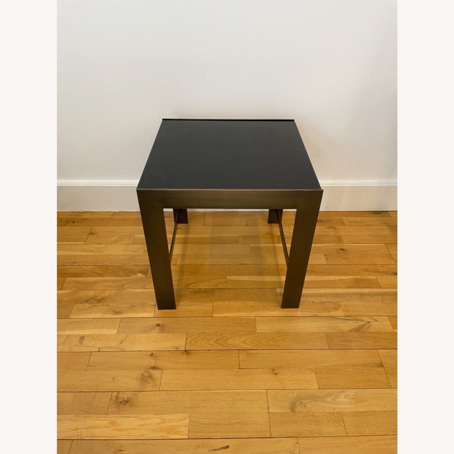 Black Glass Table with Brass Legs - image-1