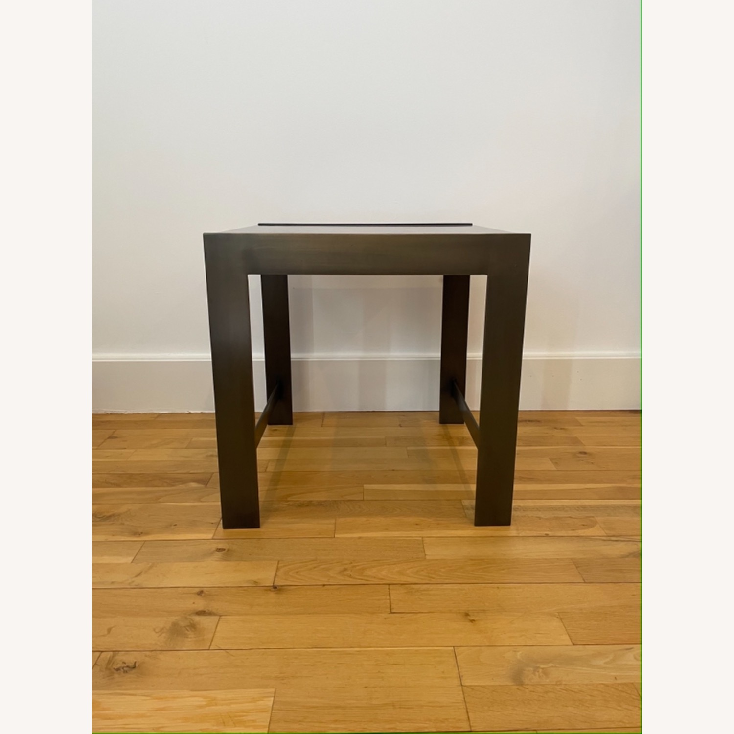 Black Glass Table with Brass Legs - image-0