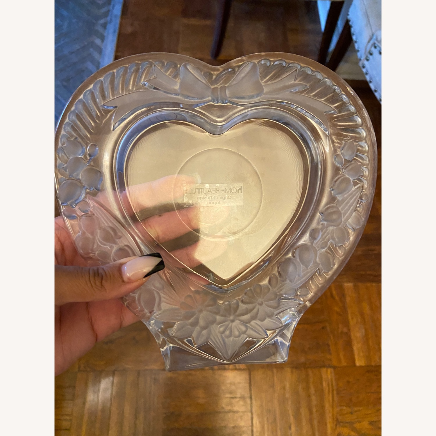 Mikasa Heart Shaped Glass Picture Frame - image-1