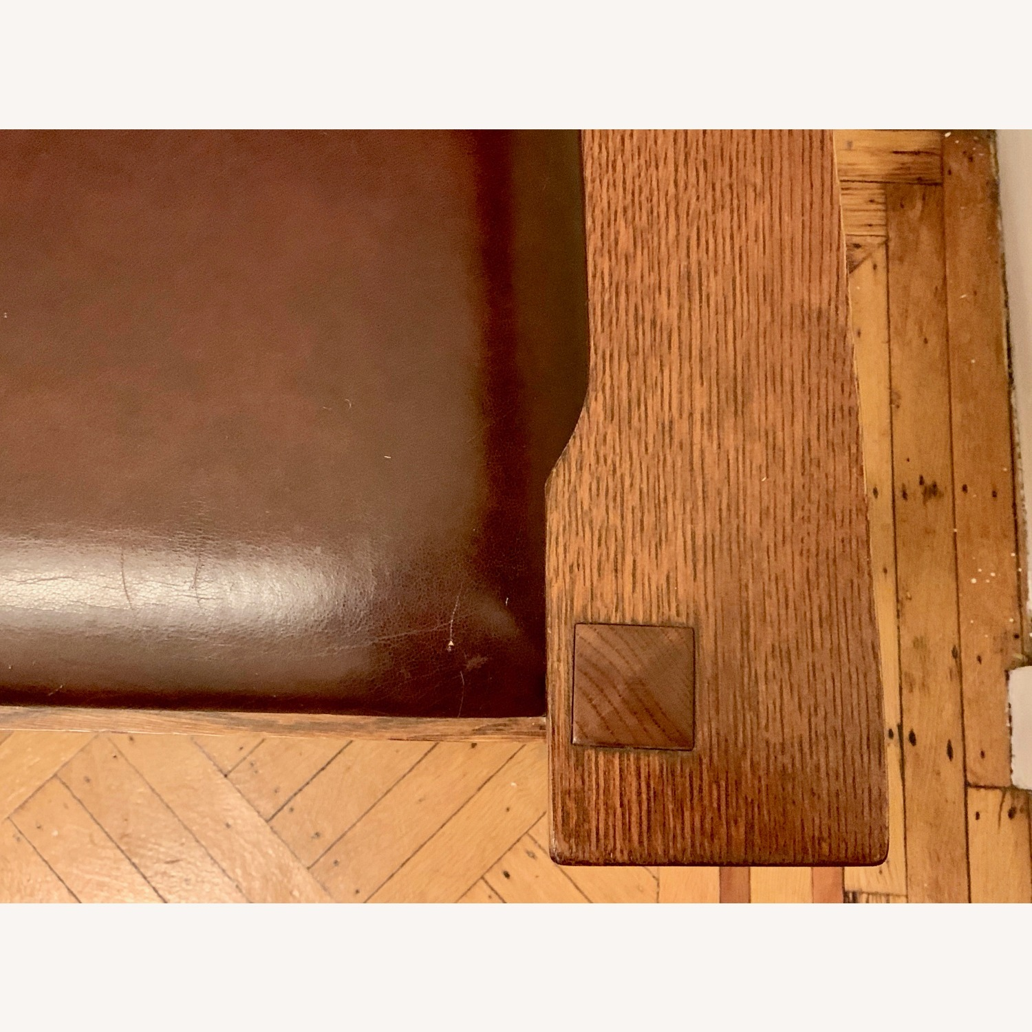 Stickley Mission Oak Chair with Leather Seat - image-2