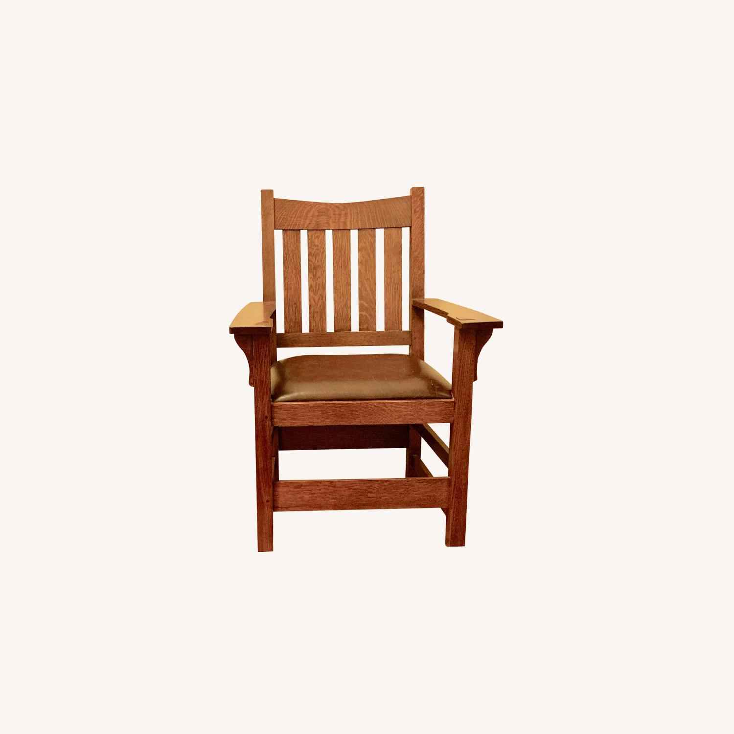 Stickley Mission Oak Chair with Leather Seat - image-0