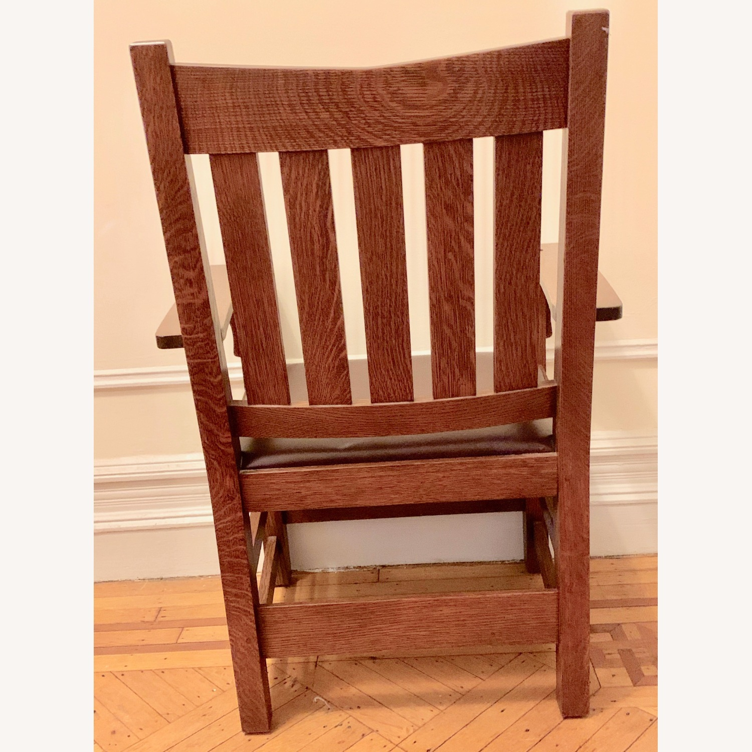 Stickley Mission Oak Chair with Leather Seat - image-5