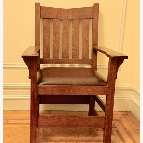 Used Stickley Mission Oak Chair with Leather Seat for sale on AptDeco