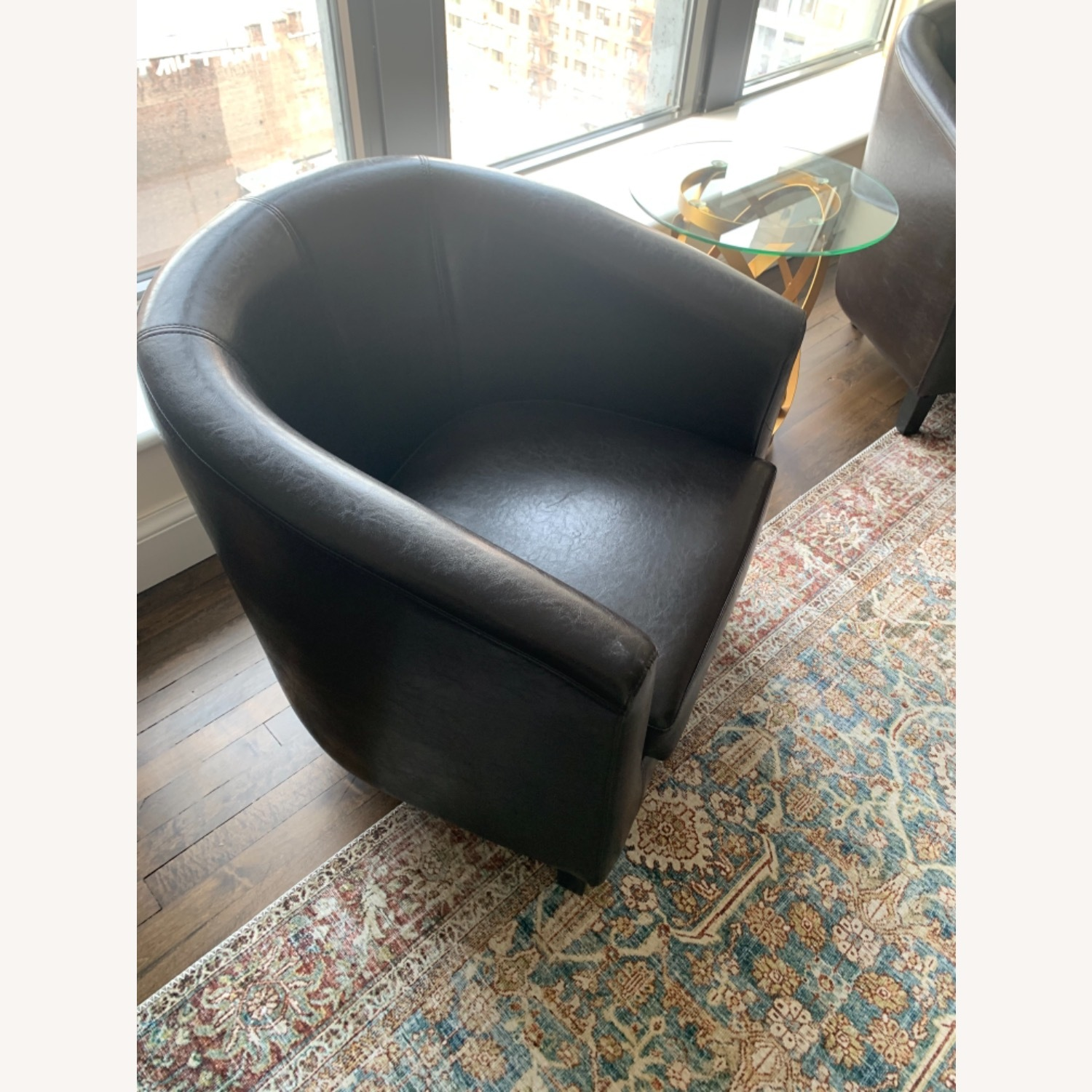 Pair of Imitation Leather Barrel Chairs - image-2