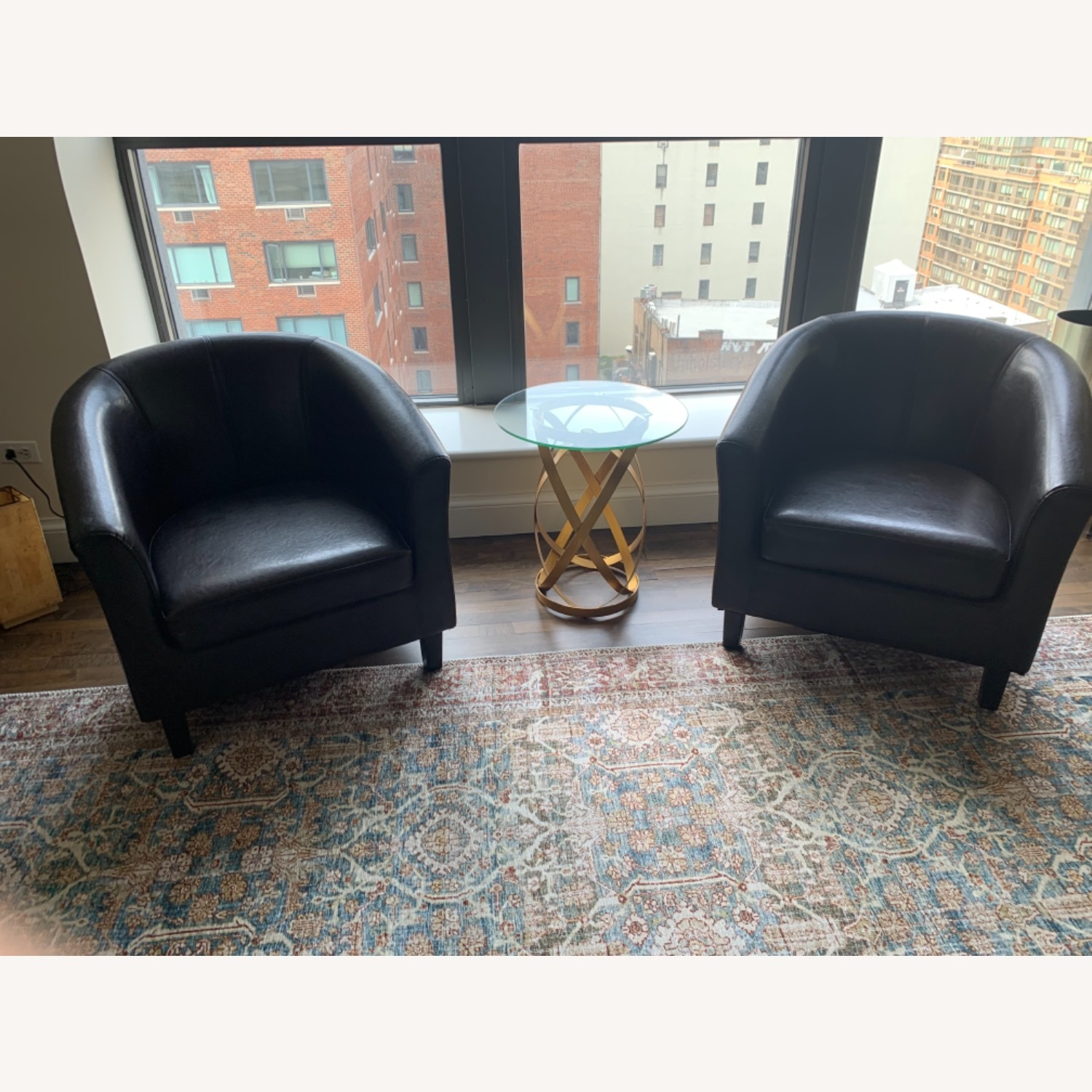 Pair of Imitation Leather Barrel Chairs - image-1