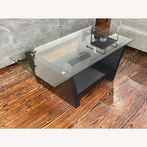 Used Wayborn Furniture Modern Black Wood and Glass Coffee Table for sale on AptDeco