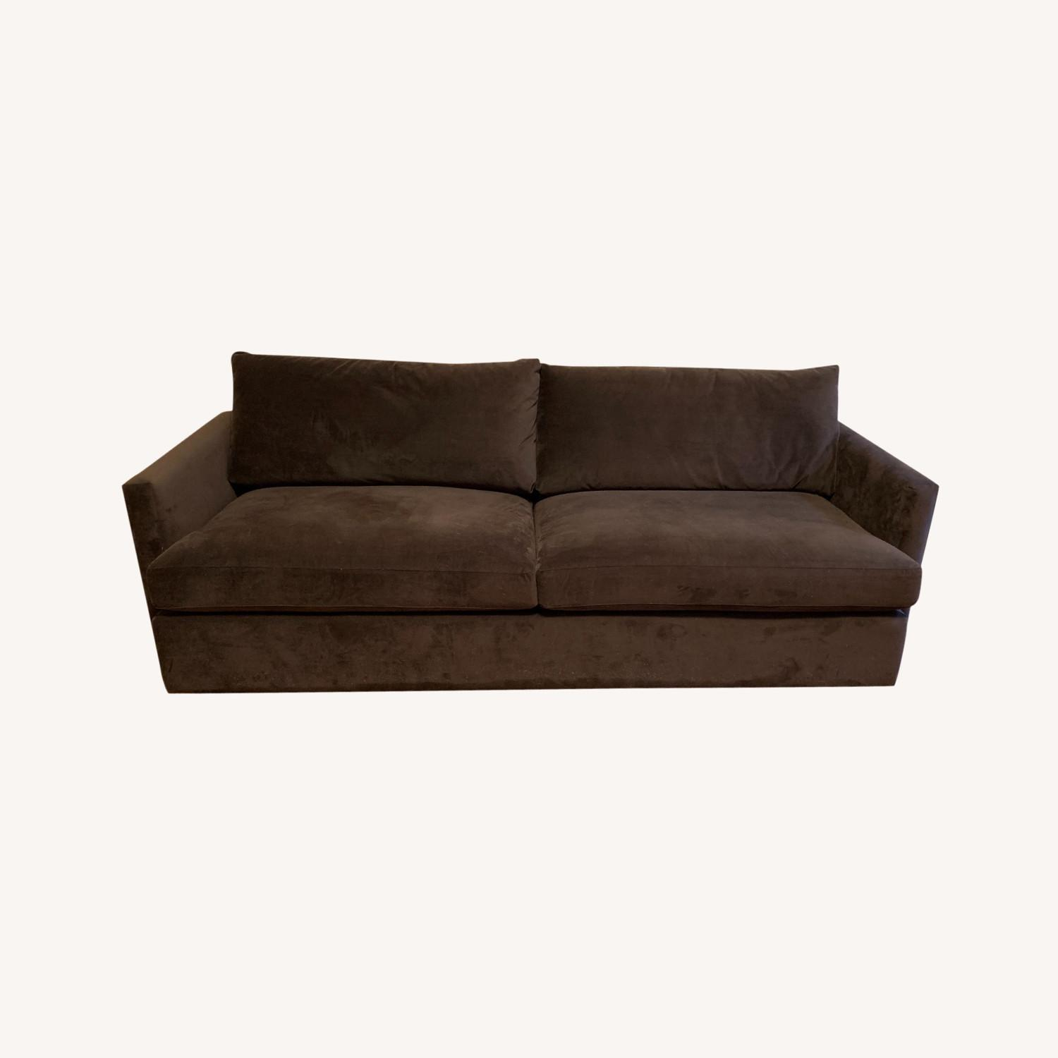 Crate and Barrel Chocolate Velvet Lounge Sofa - image-0