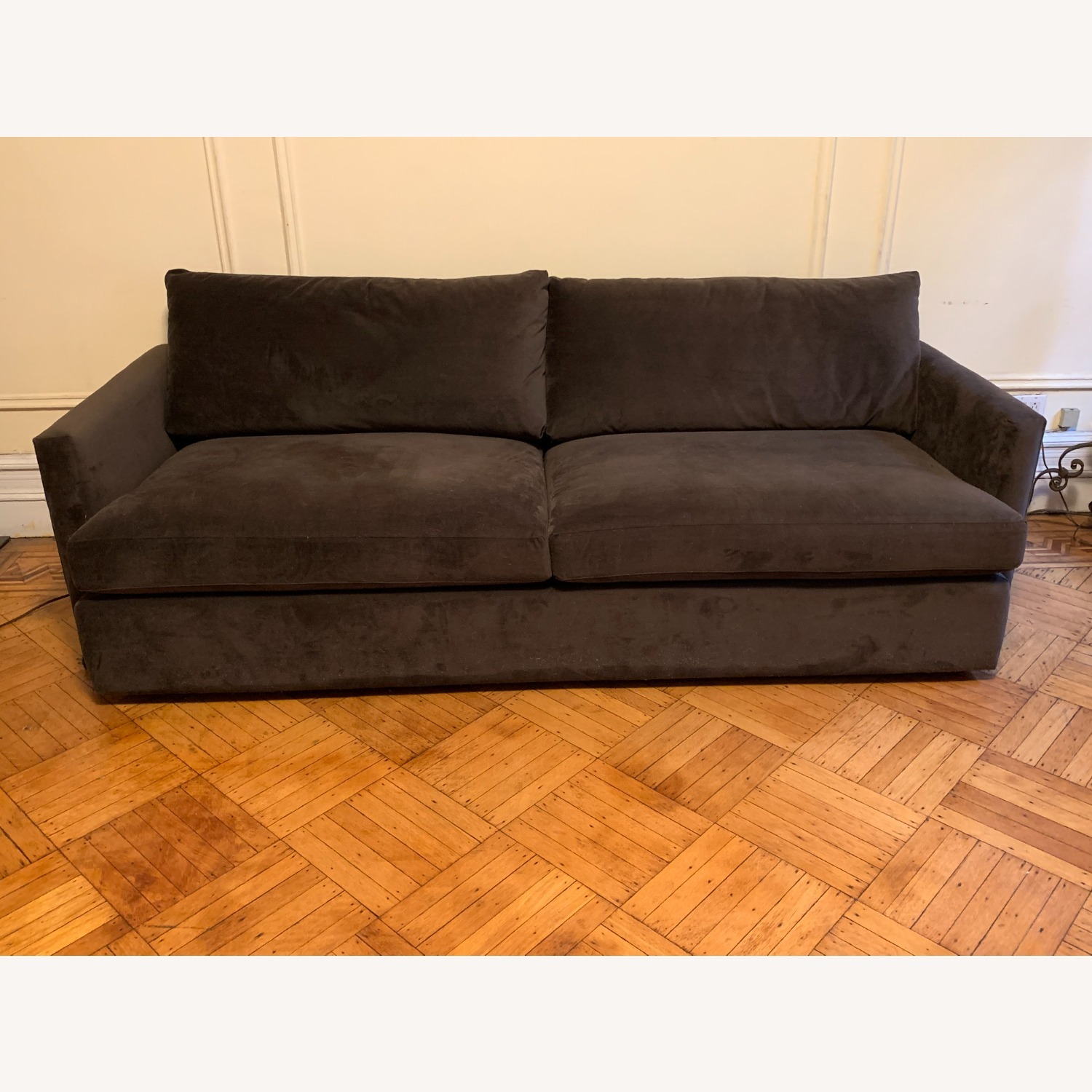 Crate and Barrel Chocolate Velvet Lounge Sofa - image-1