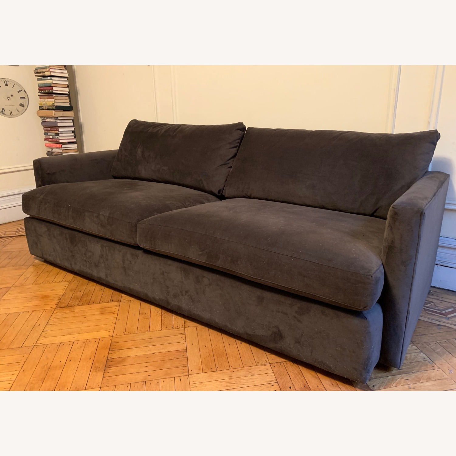 Crate and Barrel Chocolate Velvet Lounge Sofa - image-2
