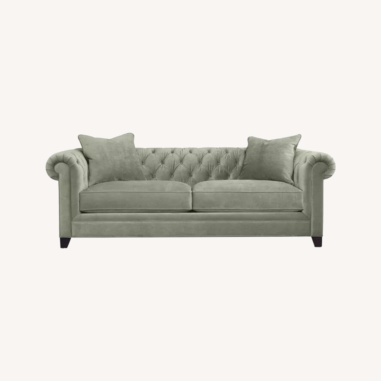 Martha Stewart Dark Grey Fabric Loveseat - image-0
