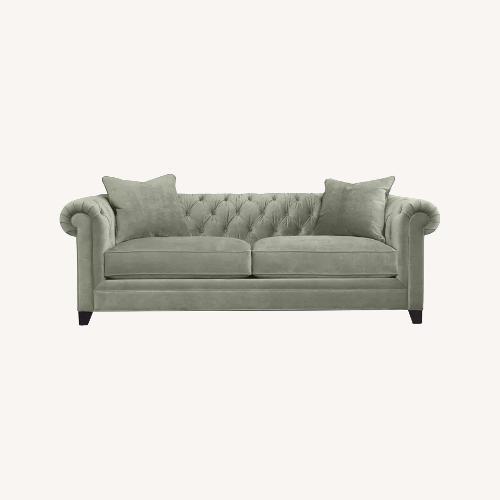Used Martha Stewart Dark Grey Fabric Loveseat for sale on AptDeco