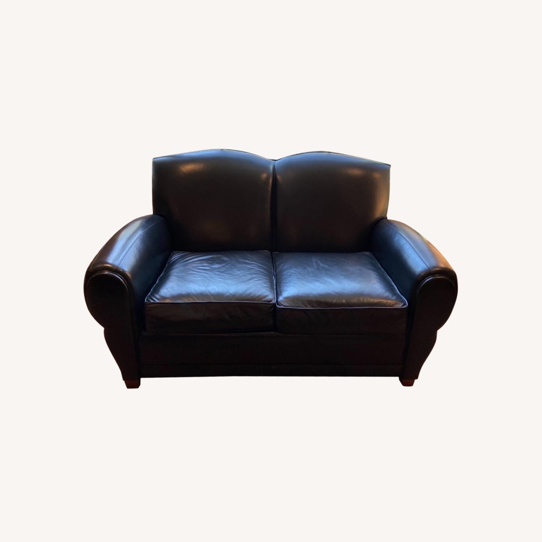 Ethan Allen Black Leather Loveseat - image-0