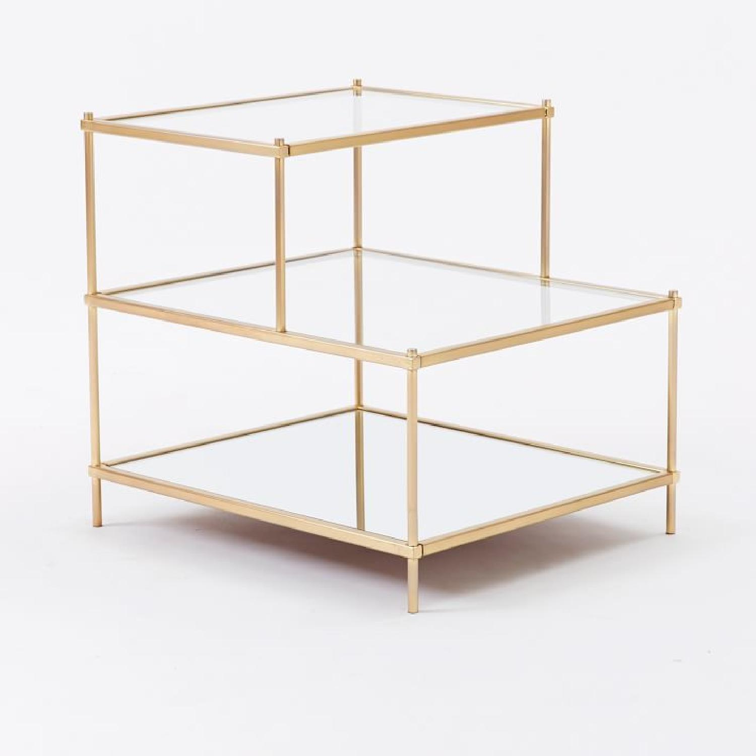 West Elm 3 Tiered Glass and Gold Brass Side Table - image-4