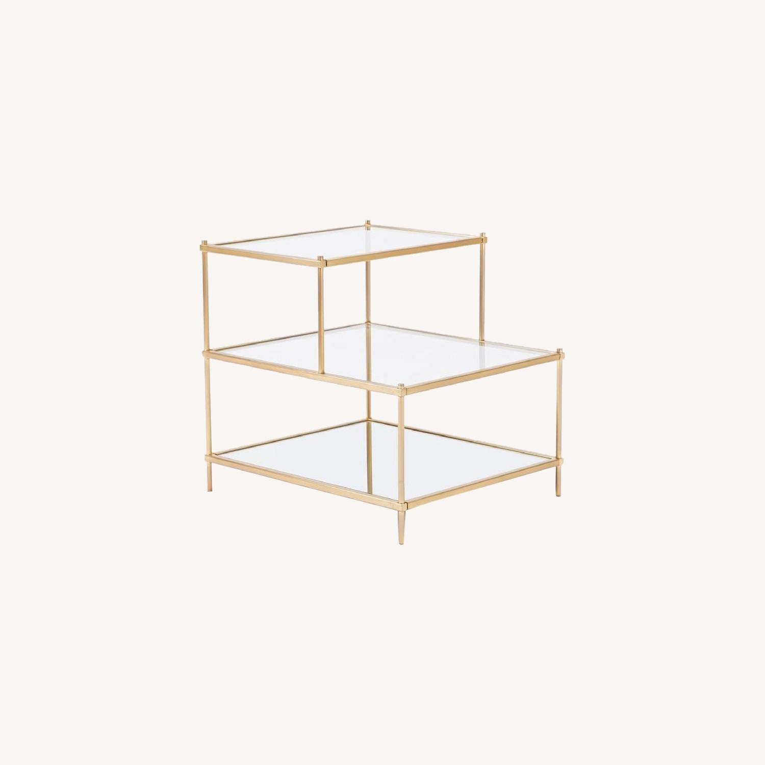 West Elm 3 Tiered Glass and Gold Brass Side Table - image-0