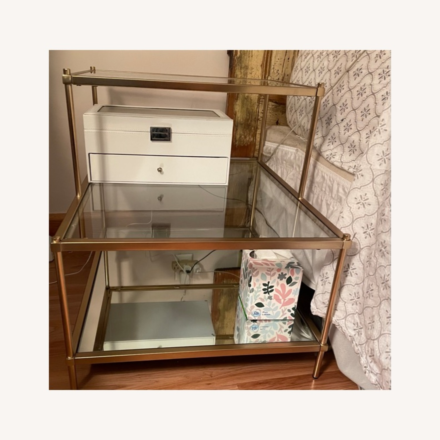 West Elm 3 Tiered Glass and Gold Brass Side Table - image-1