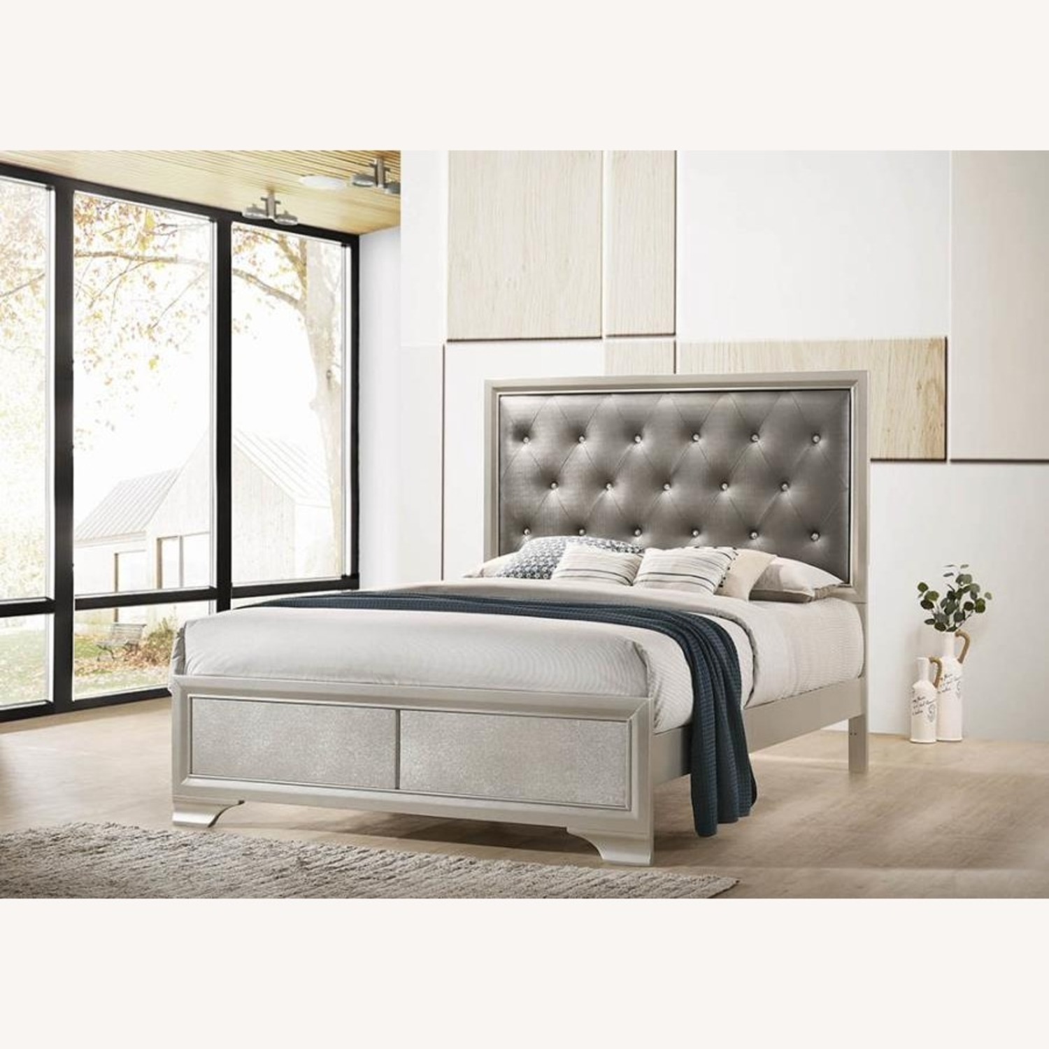 Queen Bed In Metallic Grey Leatherette Finish - image-5