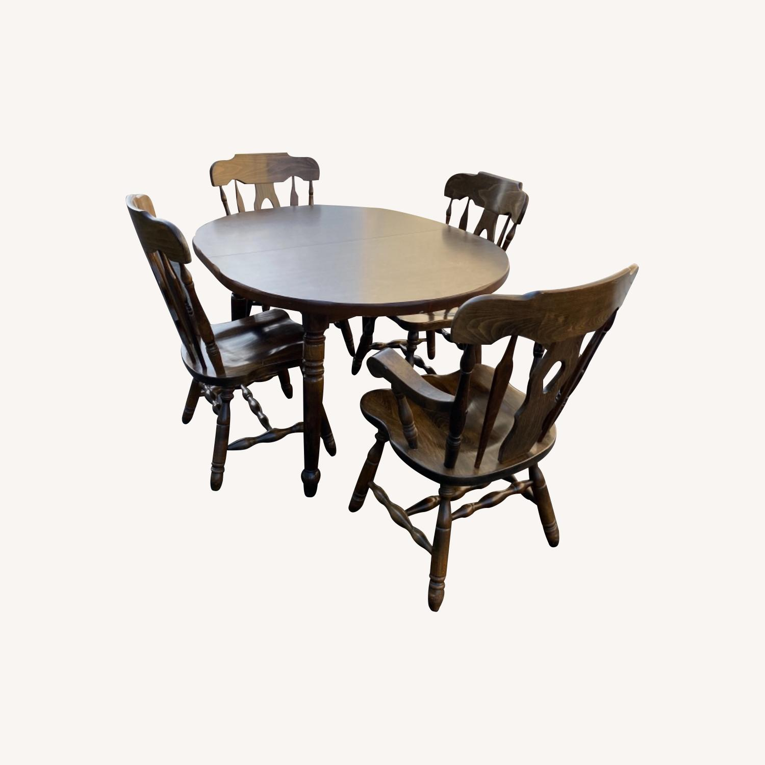Solid Wood Dining Table with 4 Chairs - image-0