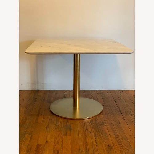 Used Square Dining Table (2) - White Marble , Brass for sale on AptDeco