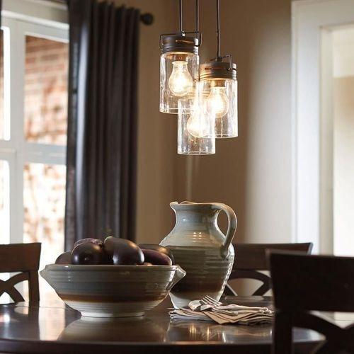 Used Lowe's Glass Jar Tri-Pendant Light for sale on AptDeco