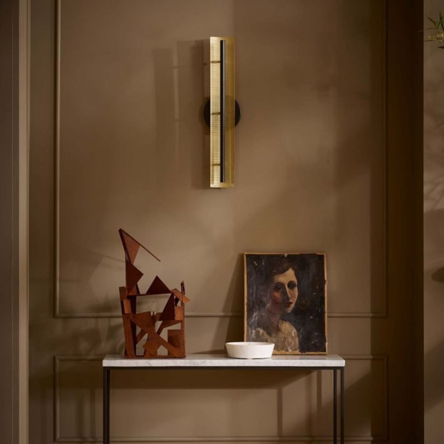 West Elm LED Perforated Sconce, Dark Bronze - image-2