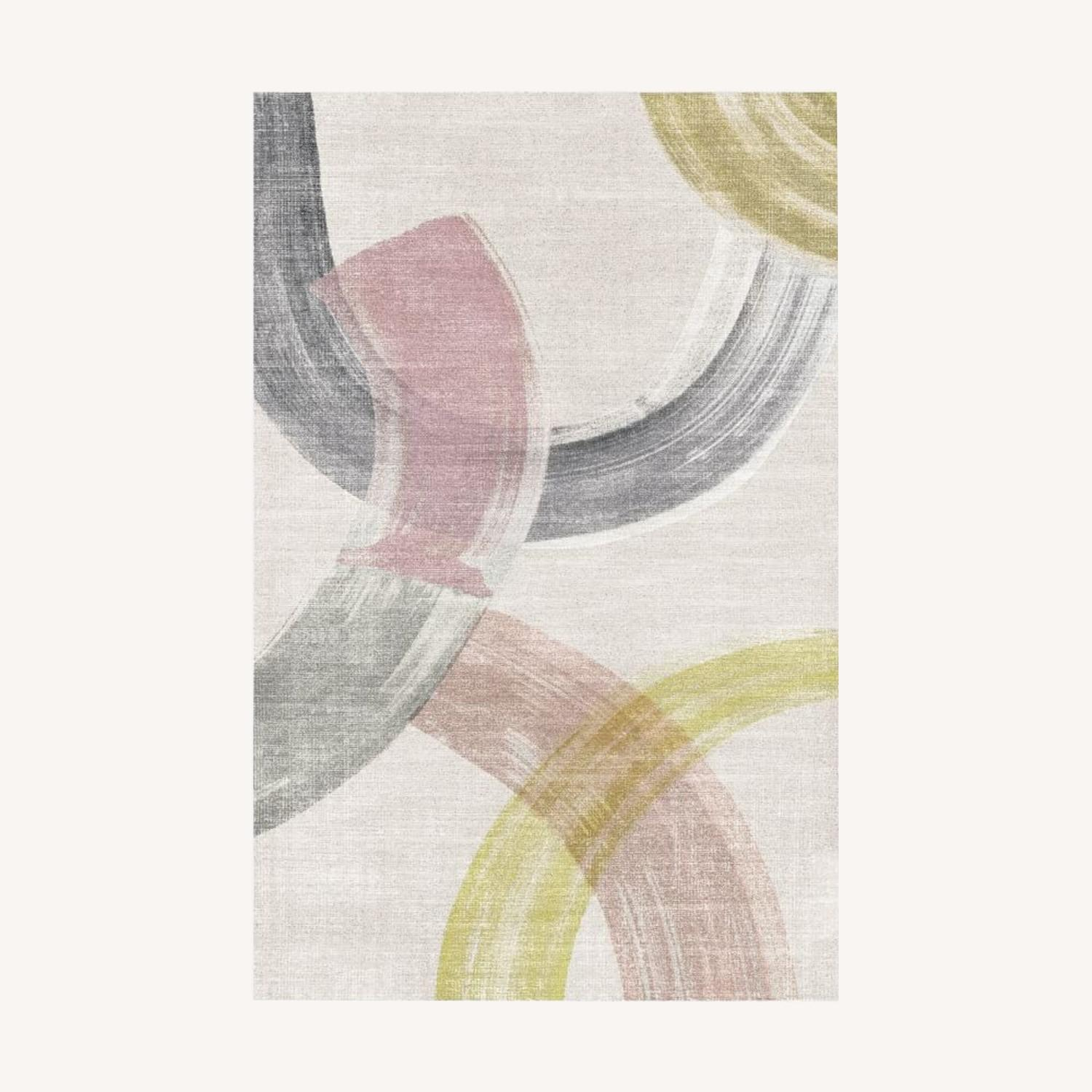 West Elm Sweeping Brushstrokes Rug, 6'x9', White - image-0
