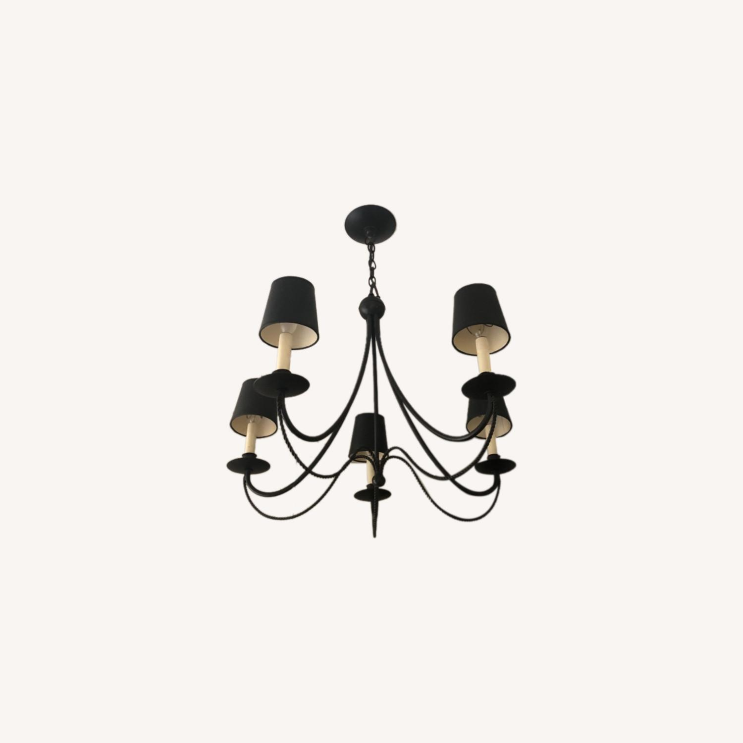 Forged Wrought Iron 5 Bulb Chandelier - image-0